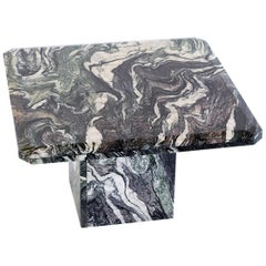 Square Side Table in Green Cipollino Marble, Italy, 1970s