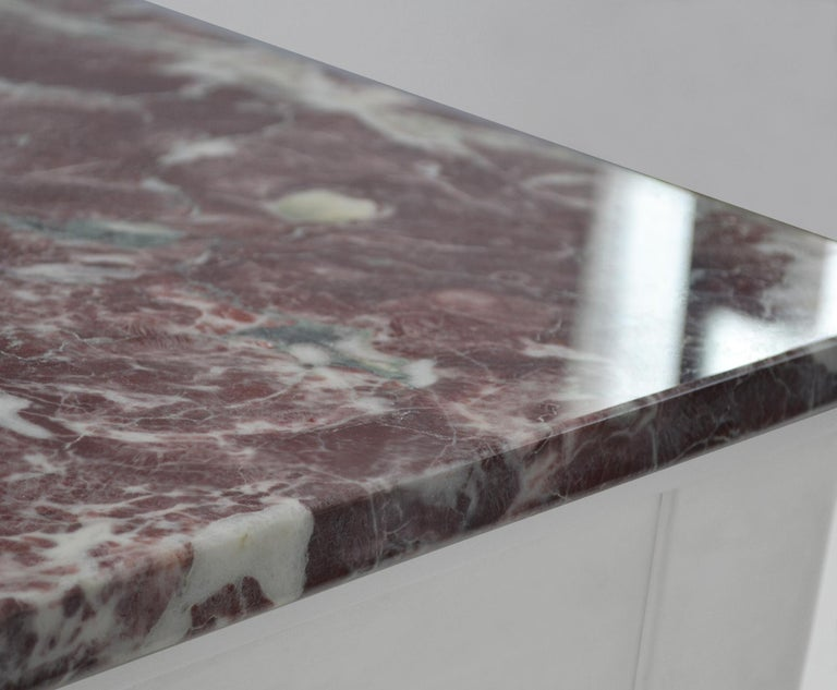 European Red marble Square Side Table top White Lacquered Wooden Base handmade in Italy For Sale