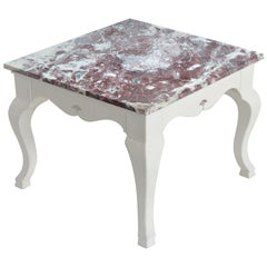 Square Side Table Italian Marble Paonazzo Top White Lacquered Wooden Base