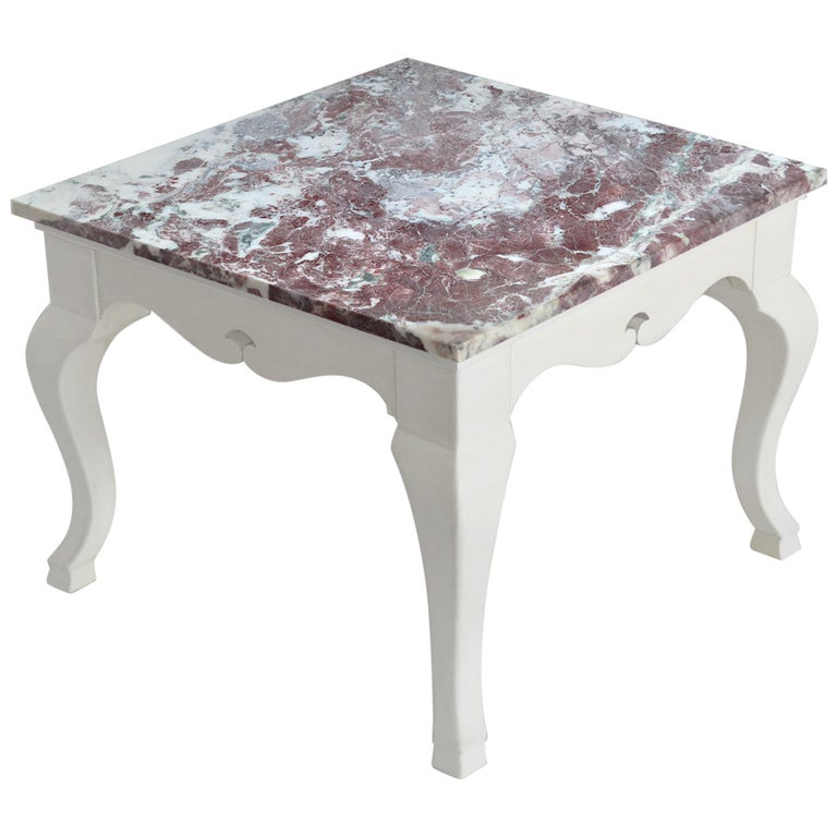 Red marble Square Side Table top White Lacquered Wooden Base handmade in Italy For Sale