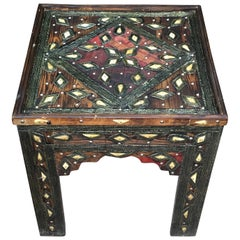 Bone and Silver Inlay Square Side Table, Morocco, 1920s