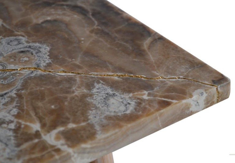 Italian Square Side Table Onyx Top Natural Wood Legs Gold Leaf Art Work Handmade, Italy For Sale