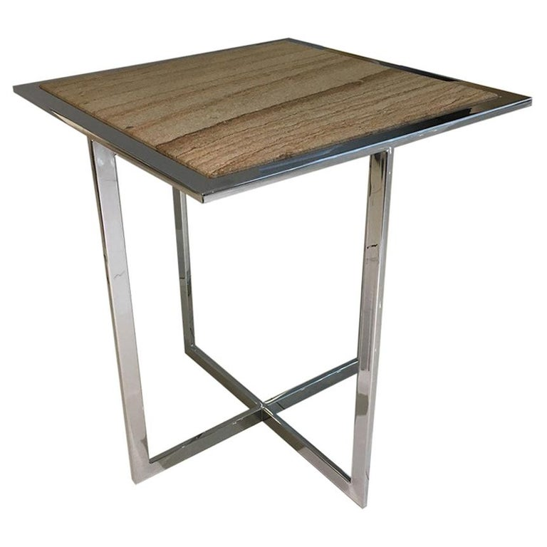 Square Side Table With Polished Chrome Frame & Sandstone Top by Draenert For Sale