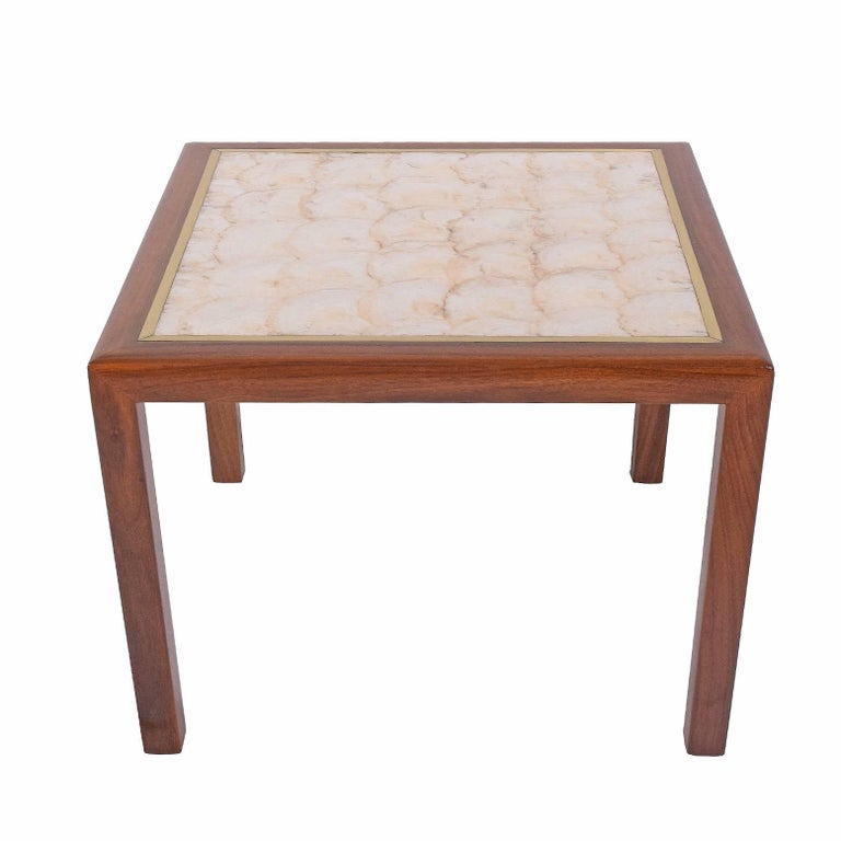 Square Side Table with Seashell Top
