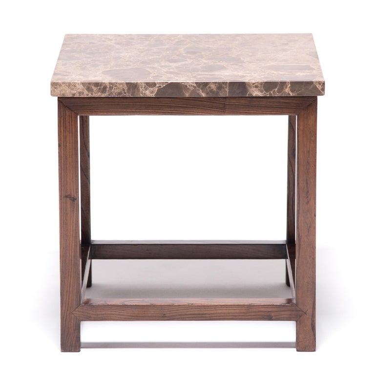 Qing Marble-Top Square Side Table For Sale