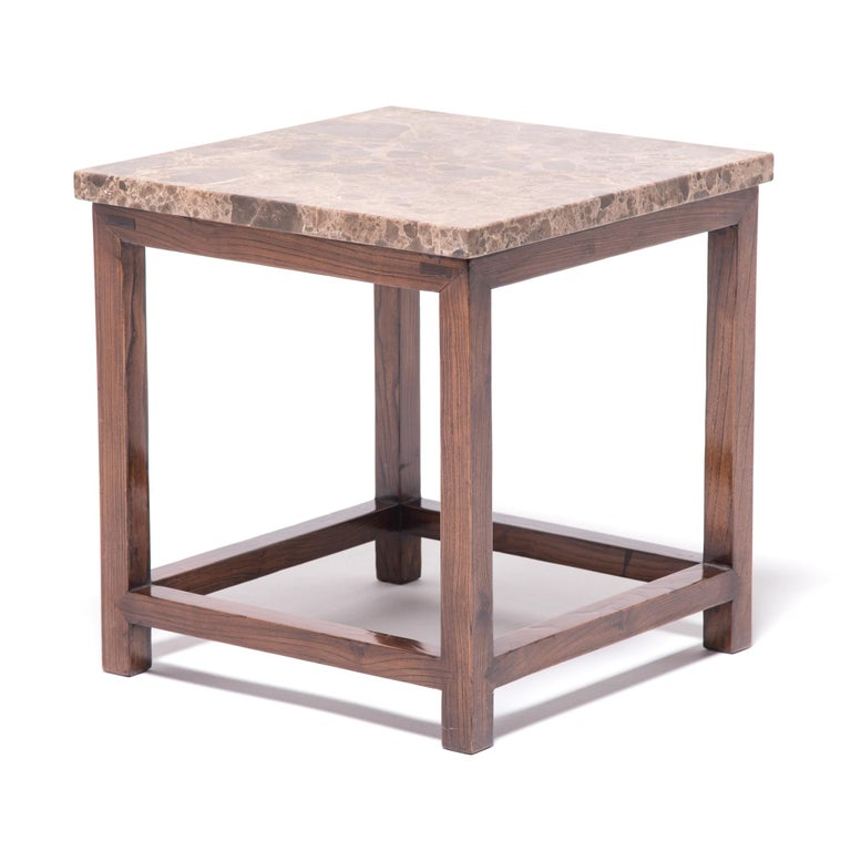 Chinese Marble-Top Square Side Table For Sale