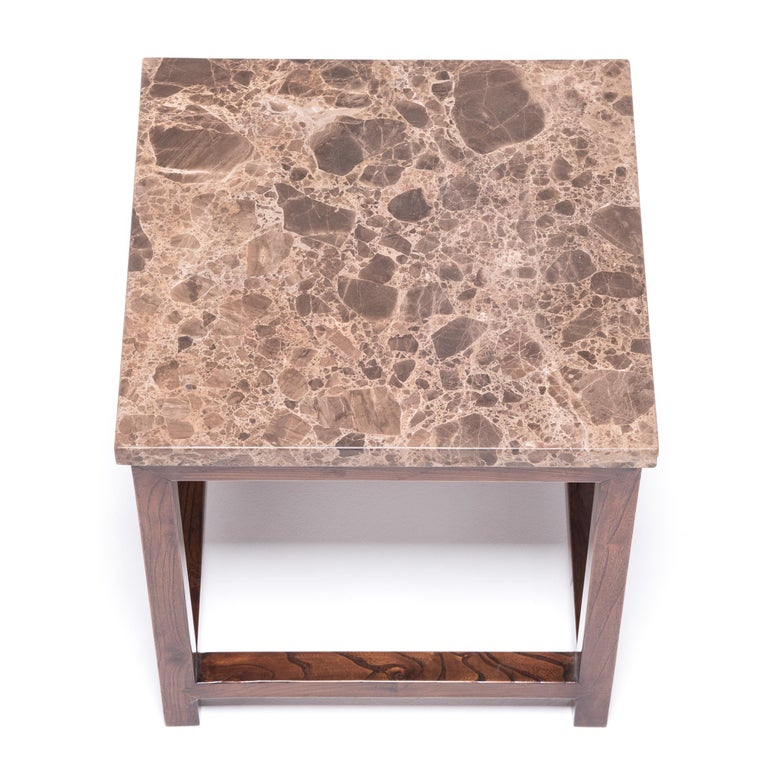 Marble-Top Square Side Table In Good Condition For Sale In Chicago, IL