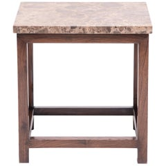 Square Side Table with Stone Top