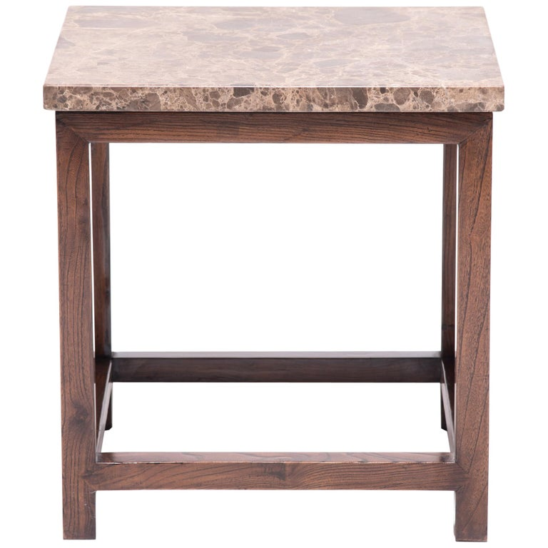 Marble-Top Square Side Table For Sale