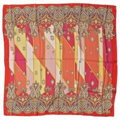 Square Silk Pink Yellow Gold Red Paisley Geometric Print Scarf