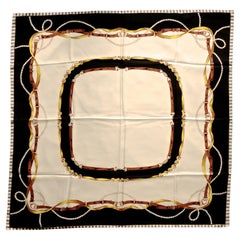 Square Silk Scarf with Belts Pearls and Ribbon Print on a Cream Background