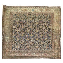Square Size Antique Early 20th Century Blue Beige Dusty Rose Persian Malayer Rug