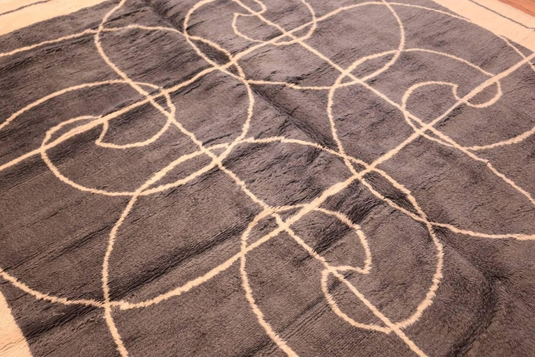 Hand-Knotted Square Size Mid-Century Rug by Pierre Cardin. Size: 8 ft x 8 ft