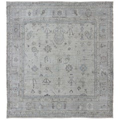 Square-Sized Angora Turkish Oushak Rug in Gray Tones