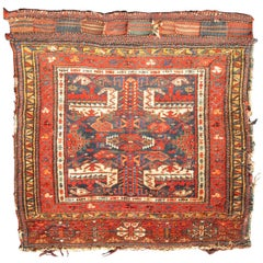 Square-Sized Antique Persian Kurdish Rug with Cross Design in Red, Blue, Yellow
