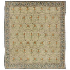 Square Sized Antique Spanish Carpet in Green, Orange and Gray/Blue