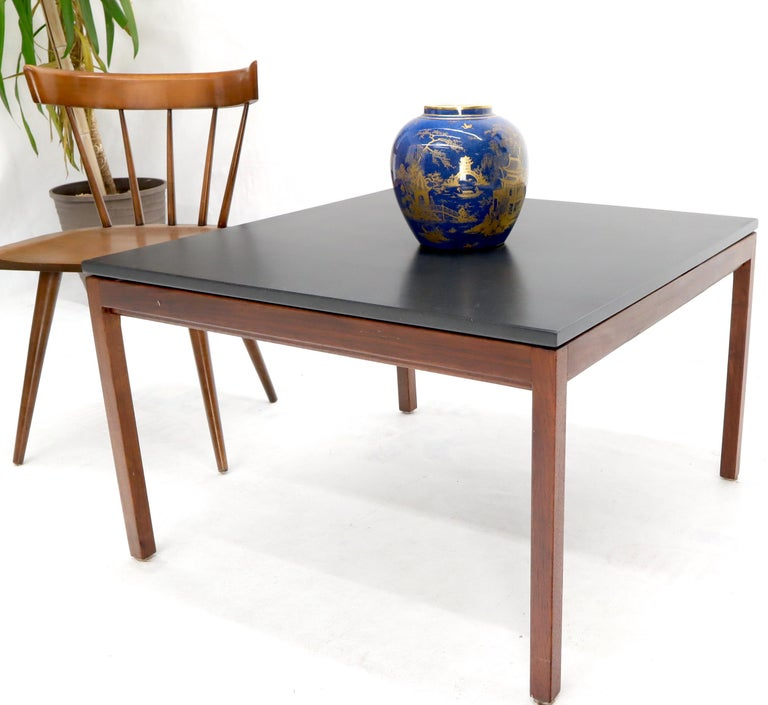 Mid-Century Modern Square Slate Top Walnut Base Coffee Table by Jens Risom For Sale