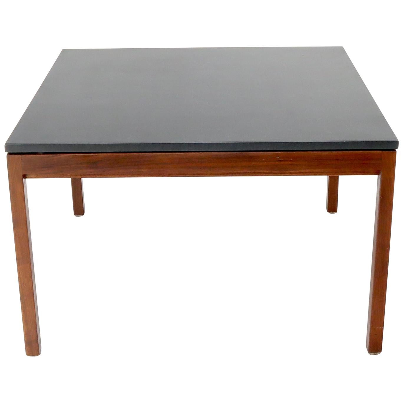 Square Slate Top Walnut Base Coffee Table by Jens Risom