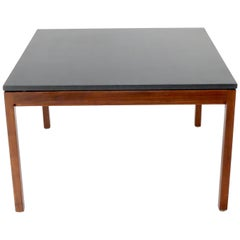 Square Slate Top Walnut Base Coffee Table by Jens Risom