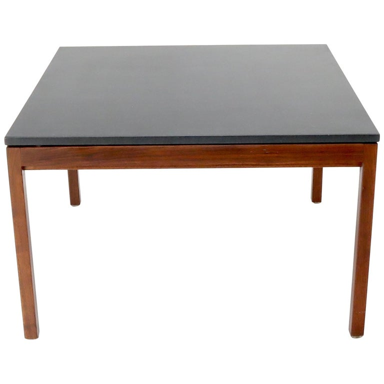 Square Slate Top Walnut Base Coffee Table by Jens Risom For Sale