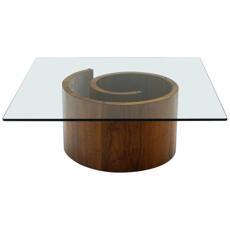 Square Snail Coffee Table with Glass Top by Vladimir Kagan For Sale