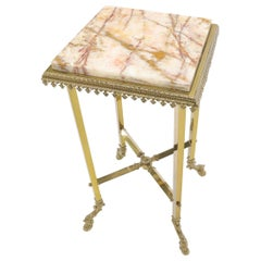 Square Solid Brass Onyx Marble Top Stand Pedestal Hoof Feet X-Stretcher Finial