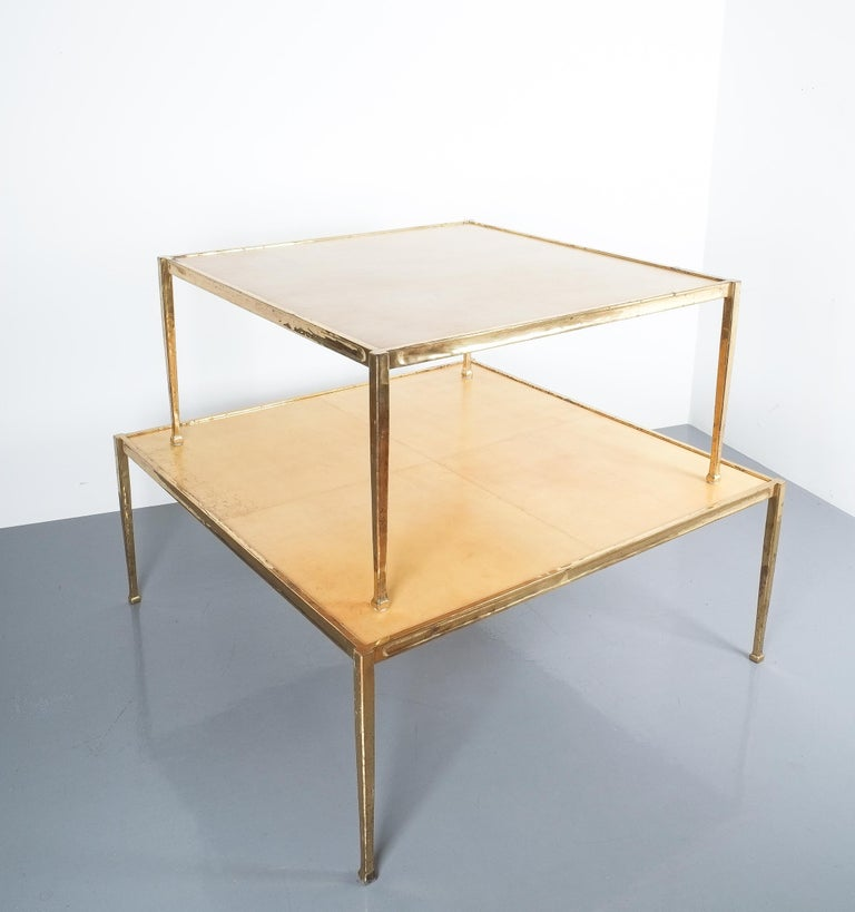 Square Solid Brass Parchment Coffee Table, France, 1965 For Sale 3