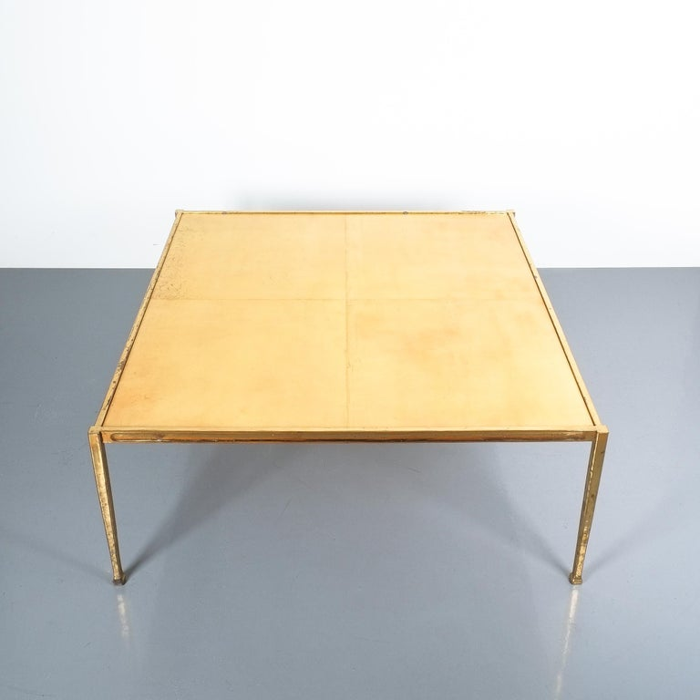 Hollywood Regency Square Solid Brass Parchment Coffee Table, France, 1965 For Sale