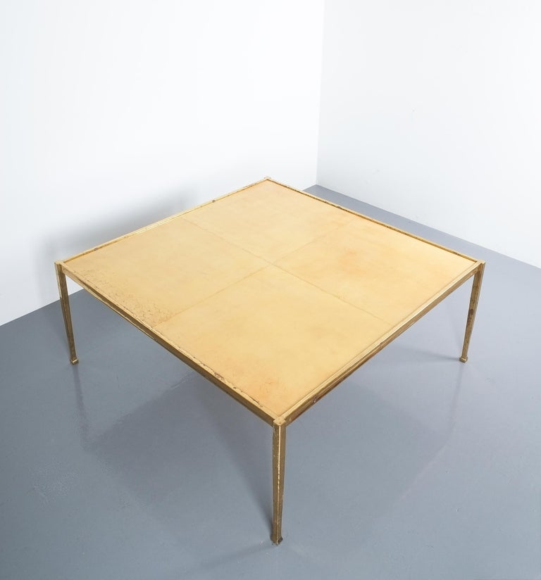 French Square Solid Brass Parchment Coffee Table, France, 1965 For Sale