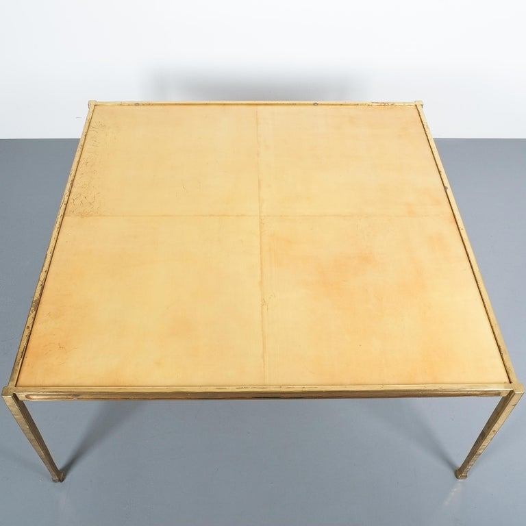 Polished Square Solid Brass Parchment Coffee Table, France, 1965 For Sale