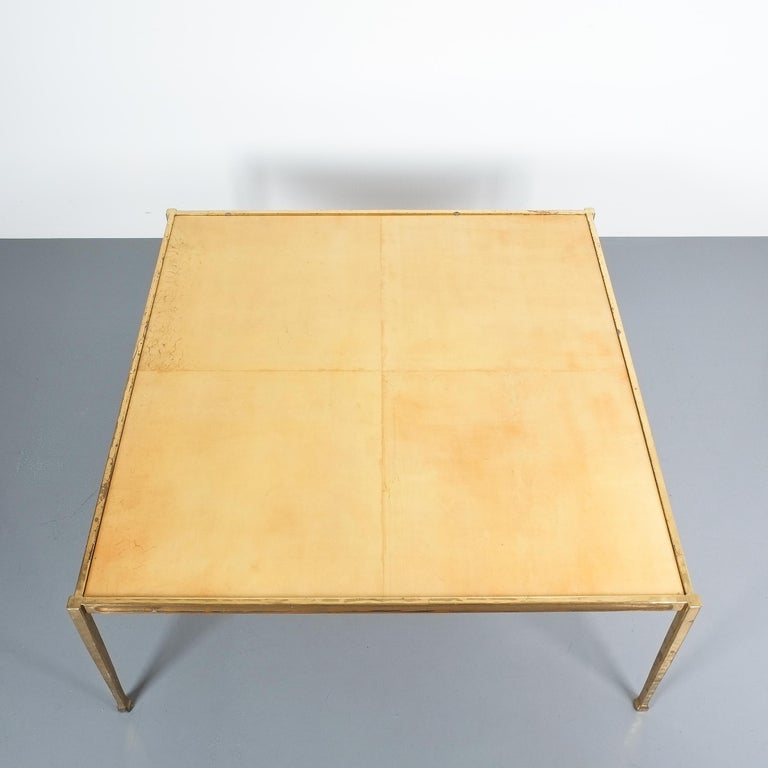 Square Solid Brass Parchment Coffee Table, France, 1965 In Good Condition For Sale In Vienna, AT