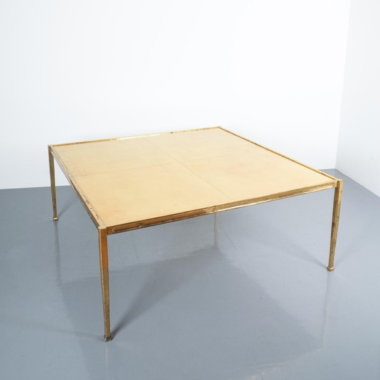 Late 20th Century Square Solid Brass Parchment Coffee Table, France, 1965 For Sale