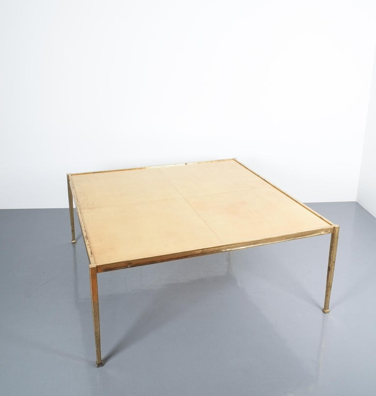 Square Solid Brass Parchment Coffee Table, France, 1965 For Sale 1