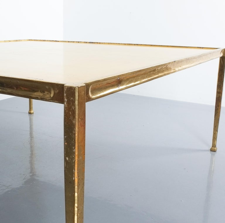 Square Solid Brass Parchment Coffee Table, France, 1965 For Sale 2