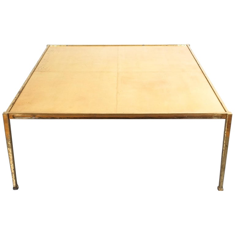 Square Solid Brass Parchment Coffee Table, France, 1965 For Sale