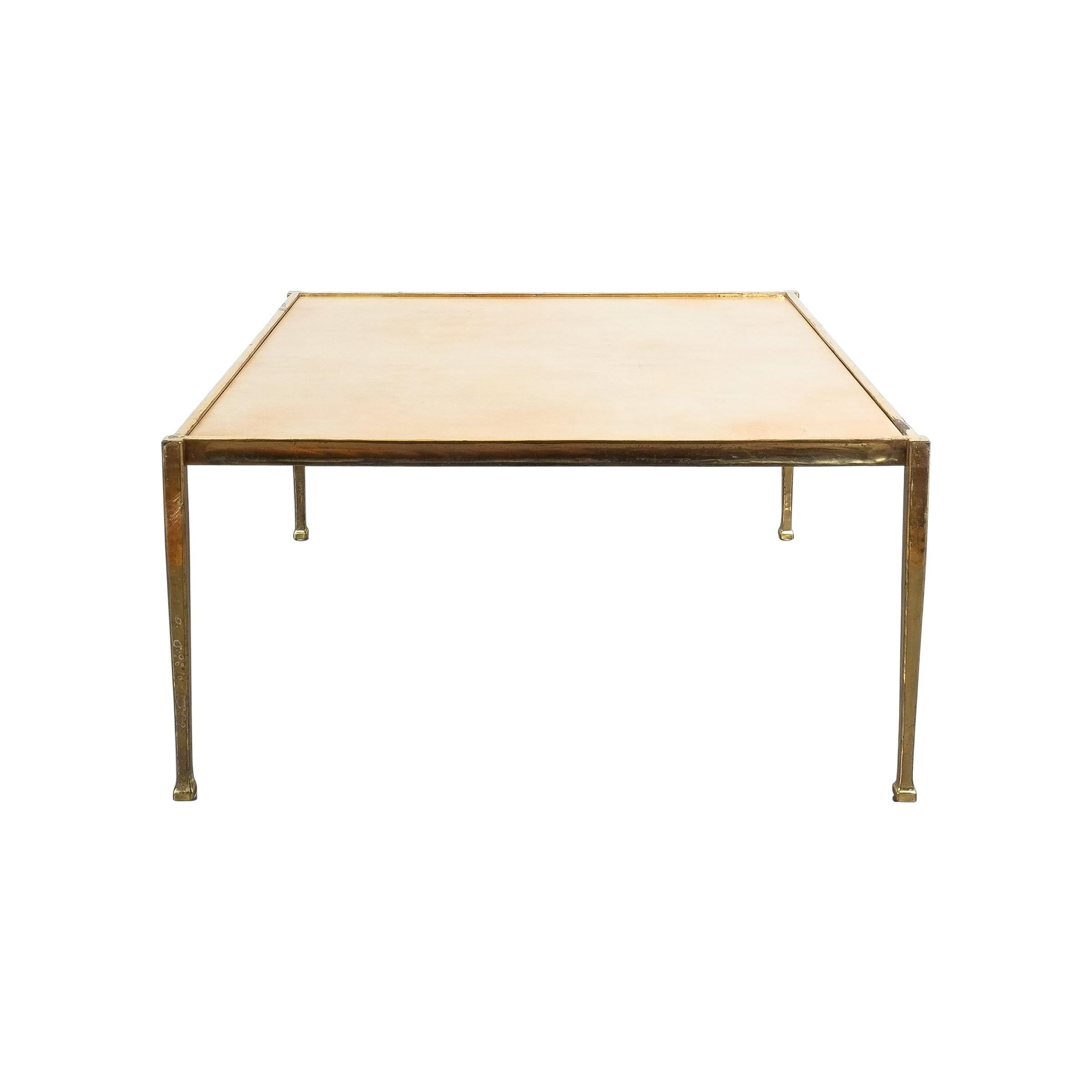 Square Solid Brass Parchment Coffee Table, France, 1965