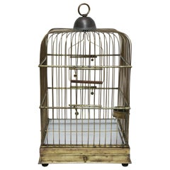 Square Solid Brass Parrot Birdcage, Late 19th Century