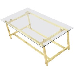 Square Solid Brass Profile Architectural Base Rectangular Coffee Table