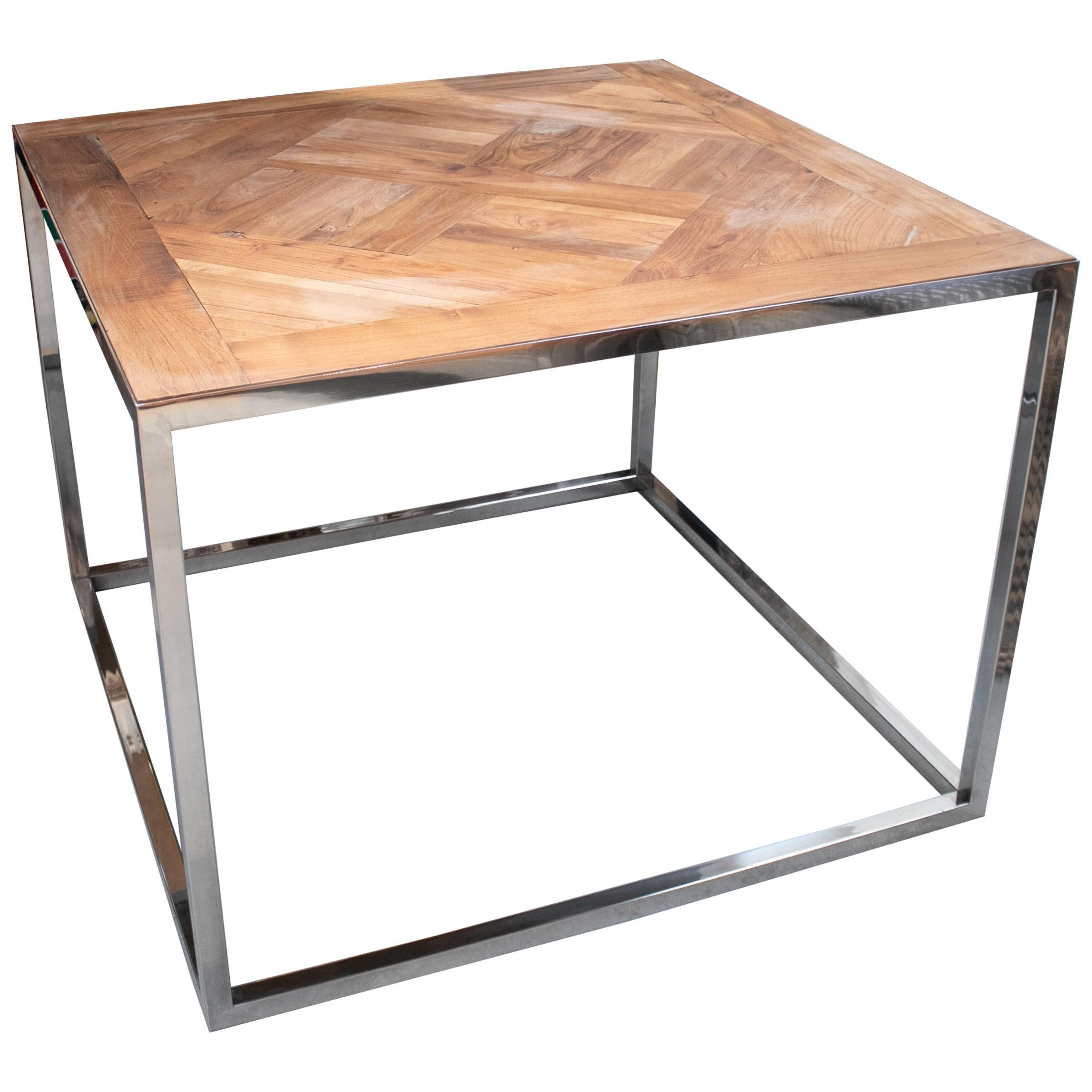 Square Steel Table with French Antique Oak Wooden Top