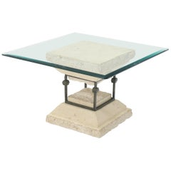 Square Suspended Base Glass Top Coffee or Side Table