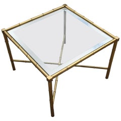 Square Table Coffee Brass Gold Glass Top Mirror Italian Design 1970s Bamboo Rod