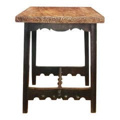 Art Deco Square Table with Central Crossbar with Large Ornament Studs, Spain