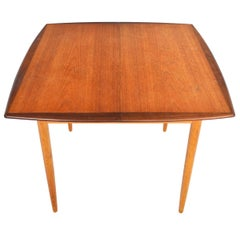 Square Teak and Oak Danish Modern Butterfly Leaf Midcentury Dining Table