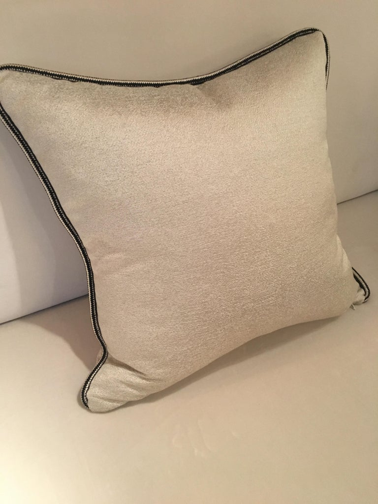 British Square Throw Pillow in Dedar Artemis Fabric with Black and White Piping For Sale