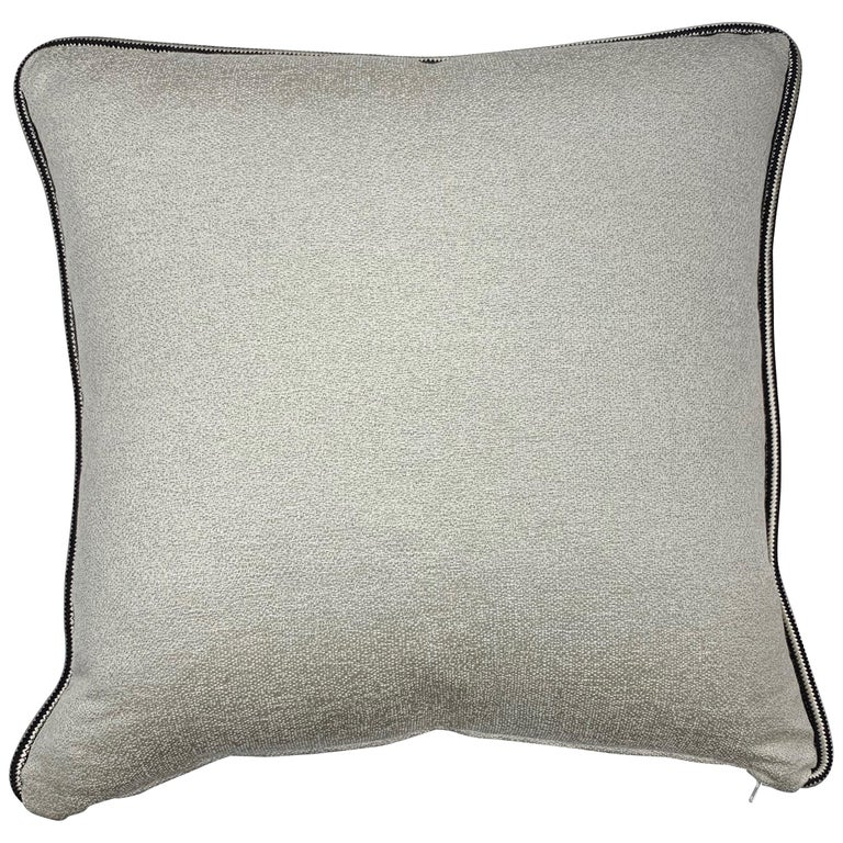 Square Throw Pillow in Dedar Artemis Fabric with Black and White Piping For Sale