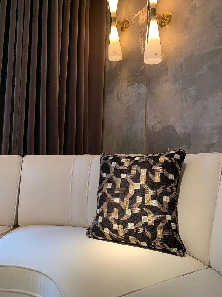 British Square Throw Pillow in Dedar Pachisi Fabric For Sale