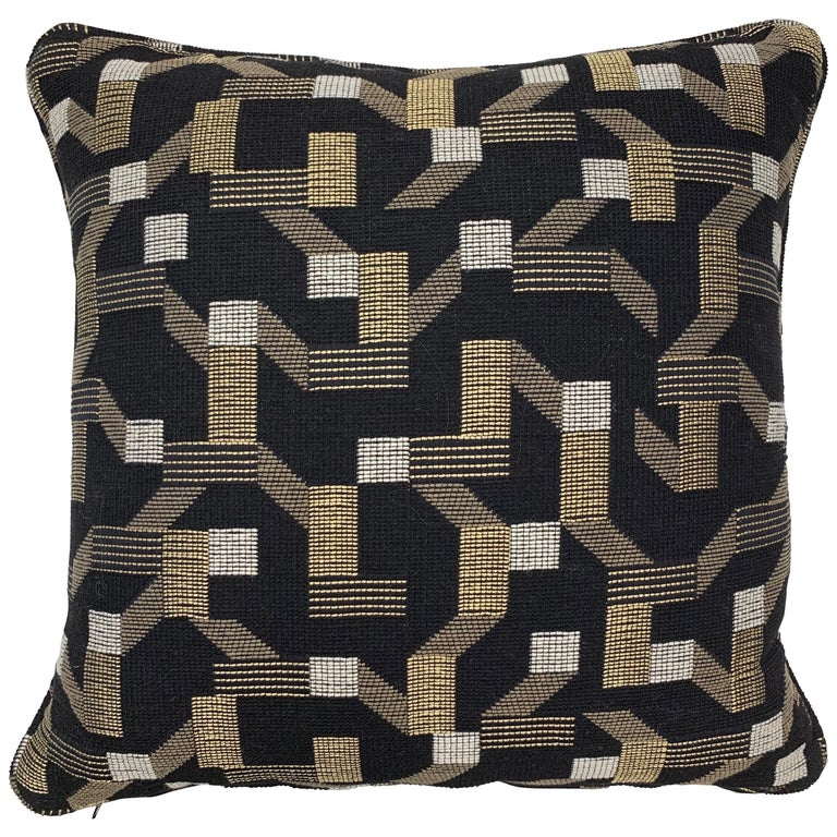 Square Throw Pillow in Dedar Pachisi Fabric For Sale