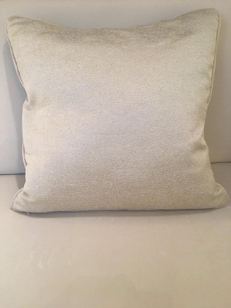 British Square Throw Pillow in Dedar Reversi and Artemis Fabrics For Sale