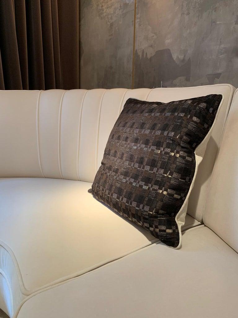 Contemporary Square Throw Pillow in Dedar Reversi and Artemis Fabrics For Sale