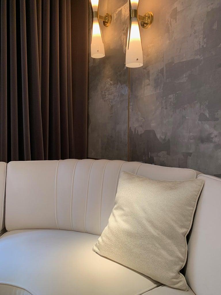 Square Throw Pillow in Dedar Reversi and Artemis Fabrics For Sale 1